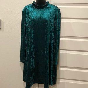 Forest green velvet dress